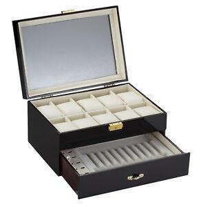 Diplomat 10 Ten Black Watch Case With Pen and Cufflink Storage Display 31-57901