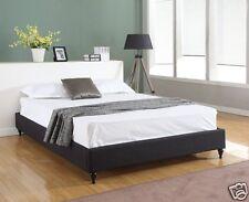 BLACK Cloth Fabric KING Size Platform Bed Frame & Slats Chinese Modern Bedroom
