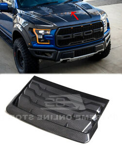 CARBON FIBER Louver Cover Hood Vent For 17-Up Ford F-150 Raptor Factory Style