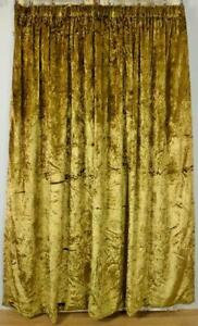 Rather Sumptuous Vintage French Olive Green Crushed Velvet Curtain / Drape