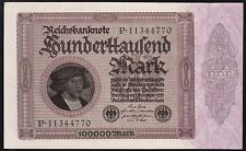 Germany, 100000 Mark, 1923, aUNC / UNC, P-83a, Completely Watermark, 1'st Issue