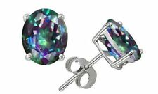 18K White Gold Plated - Oval Round MYSTIC Topaz Black Sapphire Earrings 4 Colors