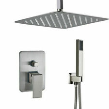 16 Inch Brushed Nickel Square Rainfall Bathroom Shower Head System Mixer Set