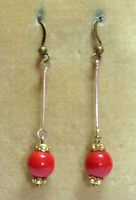 Vintage Art Deco red Czech glass Harlequin bead earrings to match old necklaces