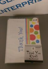 Pack 8 x Bright Colourful Polka Dots Thank You Cards with Envelopes Blank Inside