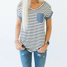 Summer Women Ladies Casual T Shirt Tops Short Sleeve Striped Patchwork Blouse UK XL