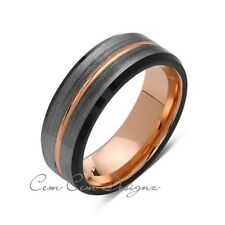Rose Gold Tungsten Wedding Band - Gray and Black Brushed Tungsten Ring - 8mm - M