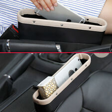 2Pcs Beige PU Car Seat Gear Gap Slit Odds Catcher Box Pocket Storage Accessories
