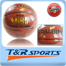 Size 6 Spalding Gold NBA Pattern Basketball Game Ball Indoor Outdoor