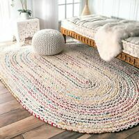 nuLOOM Handmade Bohemian Braided Cotton Chindi Area Rug in Ivory and Multicolor