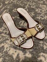 COACH White Weaved Slip On Heels Size 8 Belt Sandals KATTIE A6, Italy