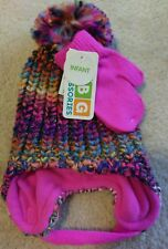 bd552eb76ac1c Girls Hat Fushia Pink Multi Infant or Toddler with Mittens ABG Accessories  NEW