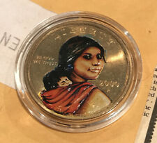 2000 Painted Native American Indian One Dollar Sacagawea Coin Golden US Mint