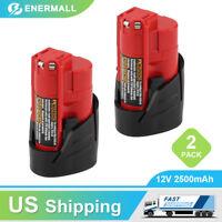 2-Pack New 2.5Ah M12 for Milwaukee 12V XC Lithium Battery 48-11-2402 48-11-2440