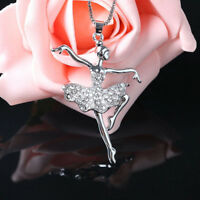 Fashion Ballet Girl Crystal Pendant Necklace Sweater Chain Women Jewelry