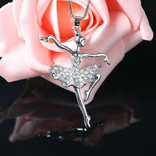 Ballet Girl Crystal Pendant Necklace Sweater Chain Women Accessories Fashion