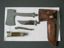 case knife hatchet combo with original sheath bone handle
