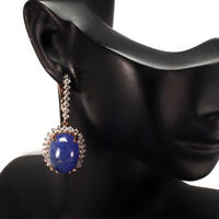 Unheated Oval Blue Tanzanite 18x13mm Natural Cz 925 Sterling Silver Earrings