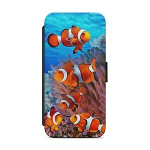 CORAL REEF CLOWNFISH WALLET FLIP PHONE CASE COVER FOR IPHONE SAMSUNG HUAWEI  s75
