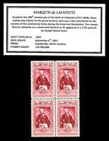 1957 - MARQUIS de LAFAYETTE-  Block of Four Vintage U.S. Postage Stamps