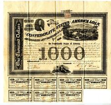 1863  $1000  Confederate Bond Wojciechowski imprint at lower right.