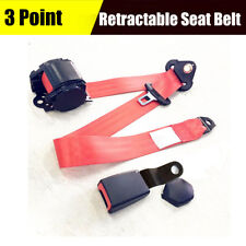 Red Car Seat Belt 3 Point Safety Adjustable Retractable Universal Rigid Buckle