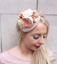 Nude Beige Cream Rose Flower Fascinator Headband Races Wedding Net Hair Vtg 3974