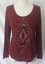 Lucky Brand Women's Lightweight Red Boho Shirt Size Large