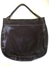 Furla Frieze Shoulder Bag Brown Leather Hobo Tote Huge Extra Large Snap Trim Top