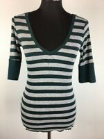 Michael Stars Womens Henley Top Green Gray Striped One Size Fits Most 3/4 Sleeve