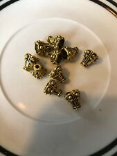 10. 10mm Tall Gold Cone Bead Cap Bali Style Pewter Beads SALE #14