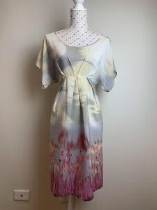 SUSSAN Dress Size 10 / M Silk Short Sleeve V-Neck Summer Beach