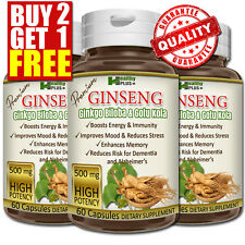 Premium GINSENG GINKGO BILOBA GOTU KOLA Capsules Cognitive Energy Reduce Stress