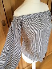 NEW - MISS SELFRIDGE, 6, ladies/teen navy/white stripe bardot blouse/tunic/top