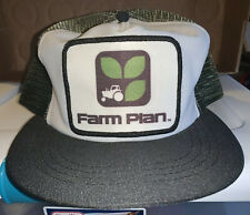 Vintage Farm Plan Mesh Trucker Two-Tone SnapBack Hat Patch USA