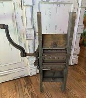 Antique Vintage Primitive Hand Fruit Crusher Cast Iron Wood