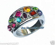 Vintage Amethyst Ruby Blue Emerald Topaz Multi-Gemstone Solid silver Ring