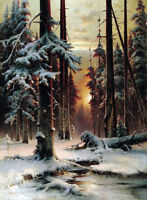 Art Oil painting Klever Yuliyi - Winter sunset in the fir forest landscape snow