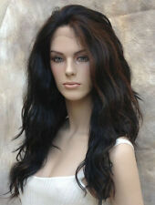Heat Resistant Lace Front Wig Long Wavy Black and Auburn mix sy FS1B-30