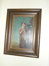 Ölgemälde antikes Ölbild betende Frau schwerer massiver Bilderrahmen Holzrahme