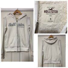 Hollister Women Thick Hoodie White Size Small S Fleece Lining (C708)
