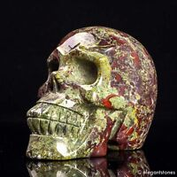 1268g Large Natural Dragon Blood Stone Quartz Crystal Hand Carved Skull Healing