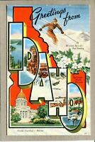 Postcard ID Greeting from Idaho Large Letter Greeting Boise Linen 1376C