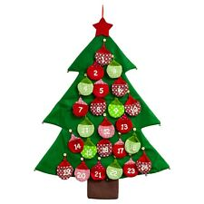 Fabric Advent Calendar Christmas Tree Shaped Advent with Bauble Pockets
