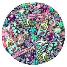 Mermaid Cartoon Style Decoden Kit Flower Cabochons, Jewels, Flatback Pearls Gems