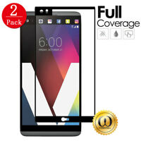 [1/2-PACK] Black Full Screen Coverage Tempered Glass Screen Protector for LG V20