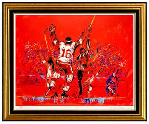 LEROY NEIMAN Serigraph Original Artwork Signed Hockey Red Goal Sports painting