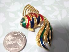 Multi colored koi fish pin brooch