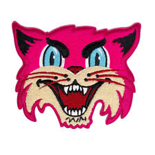 Pink Cat embroidered chenille patch- goth, black