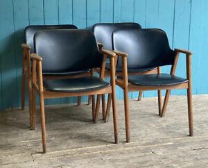 Mid Century 4 Black Vinyl Chairs DELIVERY*